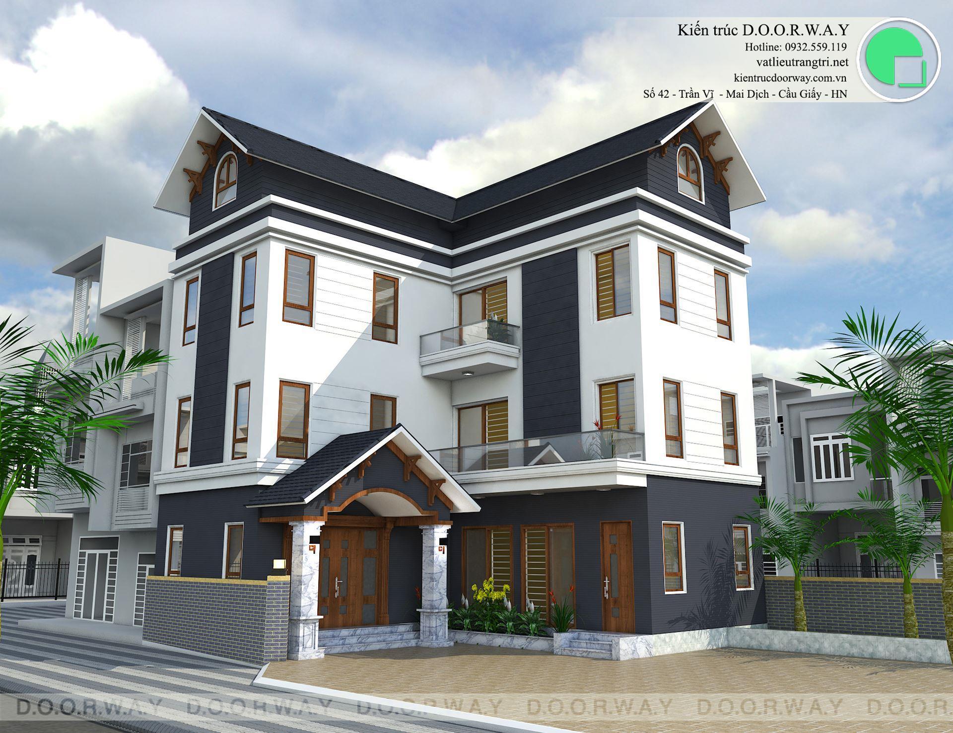 Thiết kế biệt thự 3 tầng mr Chung Tân Hội by doorway góc chính giữa