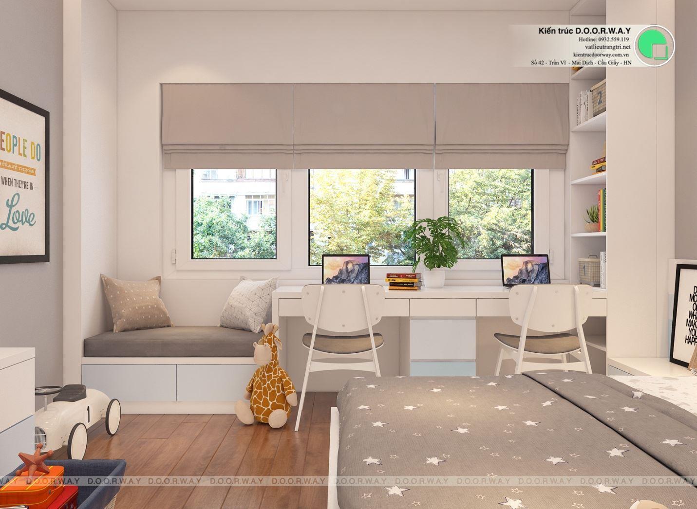 Thiết kế nội thất phòng ngủ bé trai 15m2 tại Hà Nội nhà anh Sa góc 01