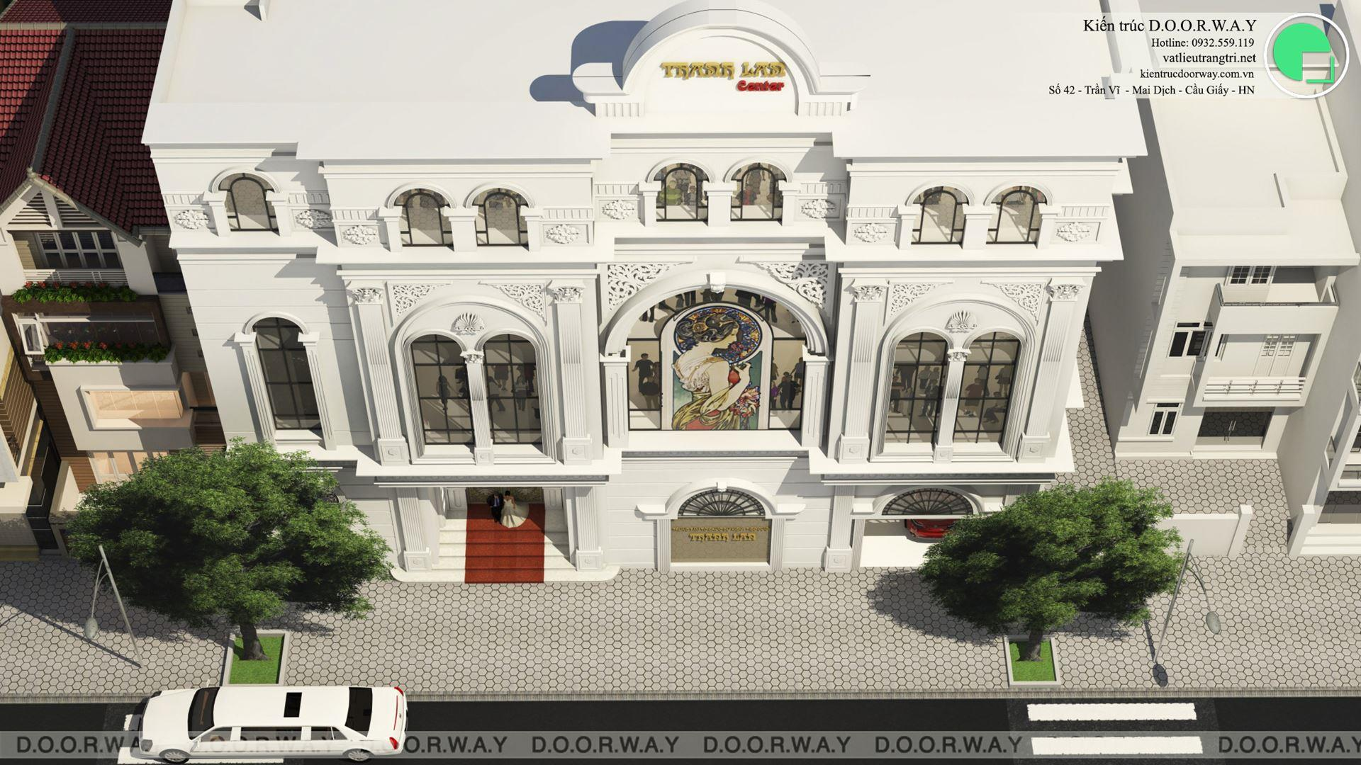 Góc nhìn từ trên xuống - Thiết kế nhà hàng tiệc cưới Thanh Lan tại Hải Dương do kiến trúc Doorway thiết kế