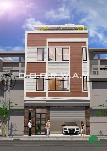Thiết kế nhà phố 3 tầng hiện đại 1 tum chú Nam cô Hạnh tại Phú Mỹ by doorway pa2 ảnh 3D