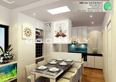 Thiết kế nội thất chung cư 90m2 nhà anh Chiểu ở chung cư Mễ Trì Hạ by kiến trúc doorway - phòng ăn góc 01