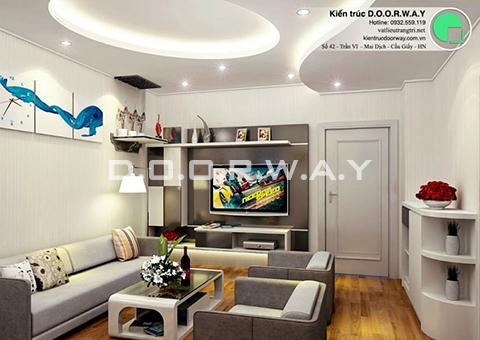 Thiết kế nội thất chung cư 90m2 nhà anh Chiểu ở chung cư Mễ Trì Hạ by kiến trúc doorway - phòng khách góc 01