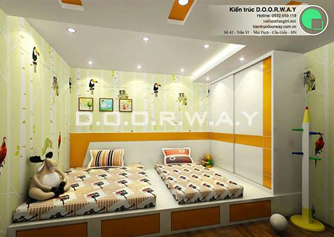 Thiết kế nội thất chung cư 90m2 nhà anh Chiểu ở chung cư Mễ Trì Hạ by kiến trúc doorway - phòng ngủ đôi cho 2 bé góc 01