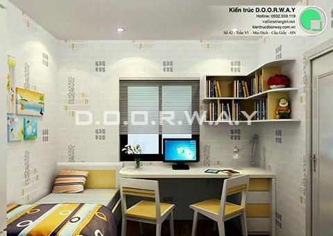 Thiết kế nội thất chung cư 90m2 nhà anh Chiểu ở chung cư Mễ Trì Hạ by kiến trúc doorway - phòng ngủ đơn vui chơi sinh hoạt góc 01