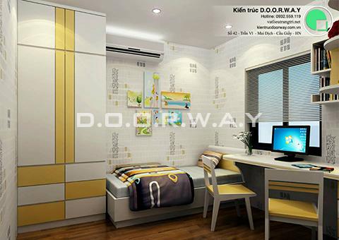 Thiết kế nội thất chung cư 90m2 nhà anh Chiểu ở chung cư Mễ Trì Hạ by kiến trúc doorway - phòng ngủ đơn vui chơi sinh hoạt góc 02