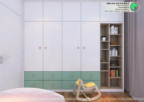 thiết kế nội thất phòng ngủ cho bé 15m2 nhà mrs thanh Sunsquare by doorway góc 02