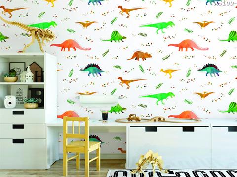 Giấy dán tường Dream World với hình khủng long nền trắng