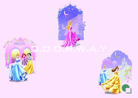 Giấy dán tường phòng ngủ màu hồng họa tiết công chúa phòng 02-mẫu