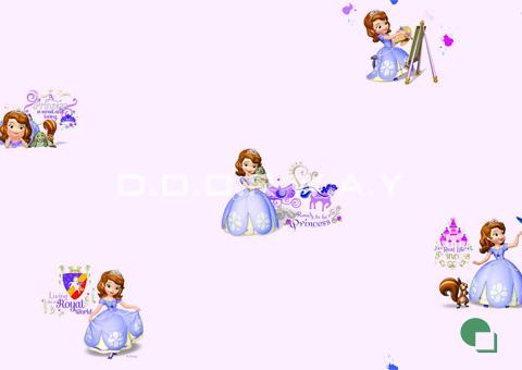 Giấy dán tường phòng ngủ màu hồng họa tiết công chúa phòng 01 -mẫu