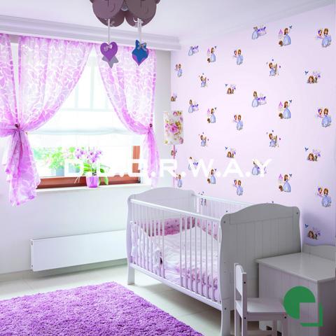 Giấy dán tường phòng ngủ màu hồng họa tiết công chúa phòng 01