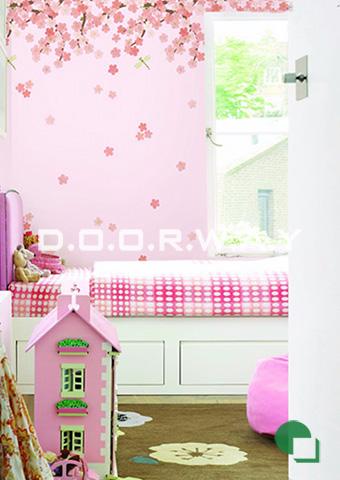 Giấy dán tường phòng ngủ màu hồng họa tiết hoa anh đào phòng 07