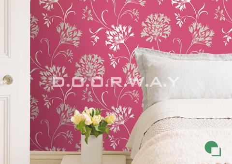 Giấy dán tường phòng ngủ màu hồng họa tiết hoa 01