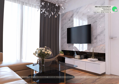 Thiết kế nội thất chung cư 60m2 Sun Square nhà chị Thanh by kiến trúc Doorway phòng khách góc 01