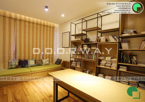 Thi công nội thất nhà ống 6 tầng 200m2 nhà anh Việt ở Lĩnh Nam by kiến trúc Doorway phòng đọc sách góc 01