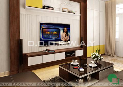 Thi công nội thất nhà ống 6 tầng 200m2 nhà anh Việt ở Lĩnh Nam by kiến trúc Doorway phòng khách góc 01