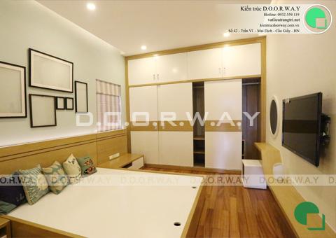 Thi công nội thất nhà ống 6 tầng 200m2 nhà anh Việt ở Lĩnh Nam by kiến trúc Doorway phòng ngủ master góc 01