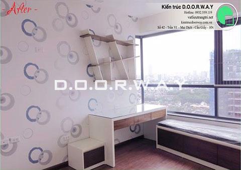 Thi công nội thất phòng ngủ cho 2 bé nhà anh Nam chị Bình by DOORWAY - kệ sách & bàn đọc sách - 01-sau thi công