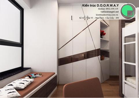 Thi công nội thất phòng ngủ cho 2 bé nhà anh Nam chị Bình by DOORWAY - ảnh thiết kế - tủ quần áo - 02