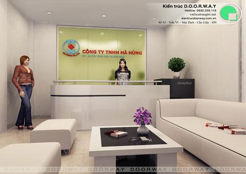 Thi công nội thất văn phòng công ty Hà Hùng by kiến trúc Doorway khu vực lễ tân 01