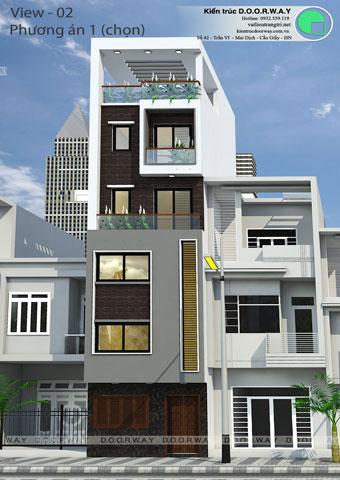 Thiết kế kiến trúc nhà ống 5 tầng 1 tum nhà anh Thế tại Nghi Tàm, Hồ Tây by kiến trúc Doorway phương án 01 góc 02