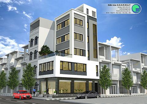 Thiết kế nhà phố 5 tầng đẹp lạ nhà anh Thái 2017 by Doorway góc 01
