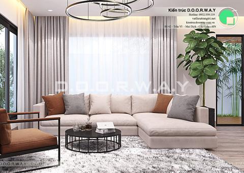 Thiết kế nội thất biệt thự Ecopark nhà chú Duy by kiến trúc Doorway phòng khách góc 01