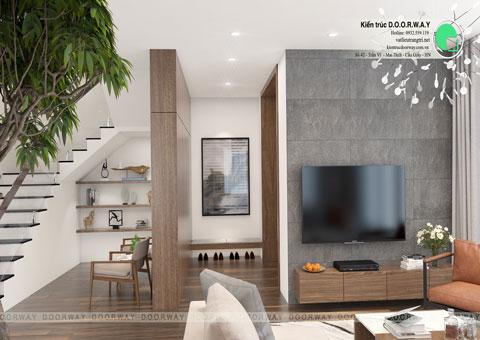 Thiết kế nội thất biệt thự Ecopark nhà chú Duy by kiến trúc Doorway phòng khách góc 03