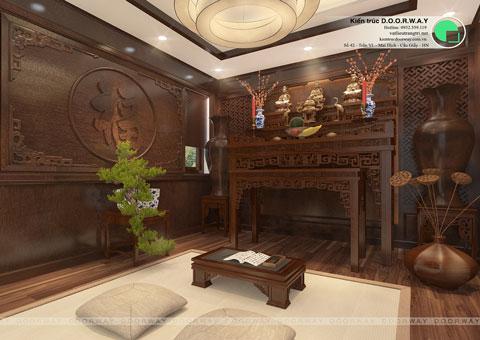 Thiết kế nội thất biệt thự Ecopark nhà chú Duy by kiến trúc Doorway phòng thờ góc 02