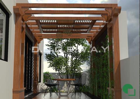 Thiết kế nội thất biệt thự Ecopark nhà chú Duy by kiến trúc Doorway tiểu cảnh sân vườn góc 03