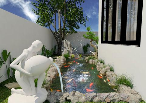 Thiết kế nội thất biệt thự Ecopark nhà chú Duy by kiến trúc Doorway tiểu cảnh sân vườn góc 01