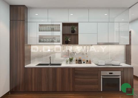 Thiết kế nội thất chung cư đẹp hiện đại 2 phòng ngủ 170m2 nhà chị Thoa ở Hà Đông by kiến trúc Doorway phòng bếp góc 02