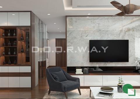 Thiết kế nội thất chung cư đẹp hiện đại 2 phòng ngủ 170m2 nhà chị Thoa ở Hà Đông by kiến trúc Doorway phòng khách góc 02