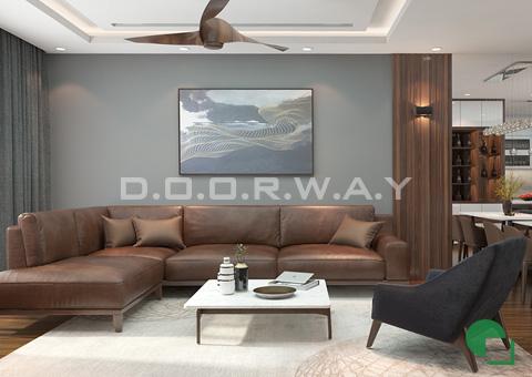 Thiết kế nội thất chung cư đẹp hiện đại 2 phòng ngủ 170m2 nhà chị Thoa ở Hà Đông by kiến trúc Doorway phòng khách góc 01