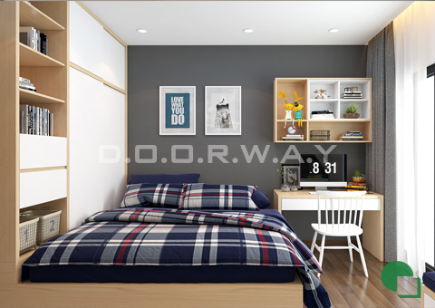 Thiết kế nội thất chung cư đẹp hiện đại 2 phòng ngủ 170m2 nhà chị Thoa ở Hà Đông by kiến trúc Doorway phòng ngủ con trai