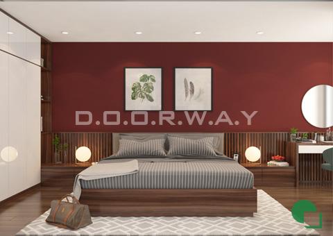 Thiết kế nội thất chung cư đẹp hiện đại 2 phòng ngủ 170m2 nhà chị Thoa ở Hà Đông by kiến trúc Doorway phòng ngủ master