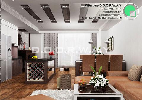 Thiết kế nội thất chung cư Intracom Cầu Diễn 130m2 nhà chị Hải by kiến trúc Doorway phòng khách góc 01