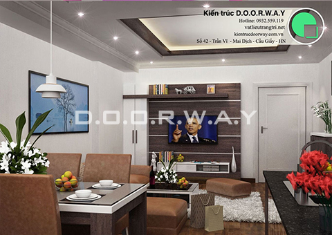 Thiết kế nội thất chung cư Intracom Cầu Diễn 130m2 nhà chị Hải by kiến trúc Doorway phòng khách góc 03