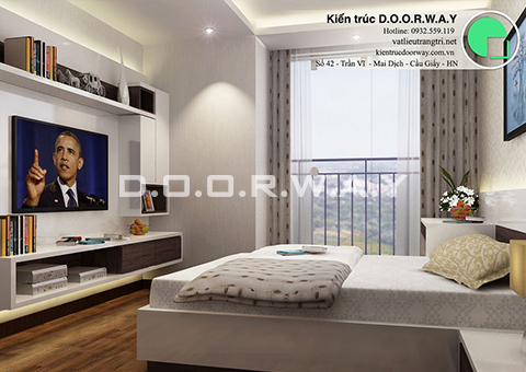 Thiết kế nội thất chung cư Intracom Cầu Diễn 130m2 nhà chị Hải by kiến trúc Doorway phòng ngủ master góc 01