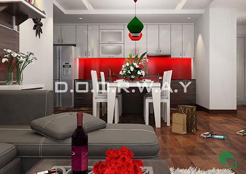 Thiết kế nội thất chung cư Tây Hà 119m2 nhà cô Thu chú Tường by kiến trúc Doorway phòng khách góc 02