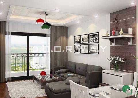 Thiết kế nội thất chung cư Tây Hà 119m2 nhà cô Thu chú Tường by kiến trúc Doorway phòng khách góc 01