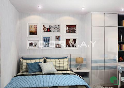 Thiết kế nội thất chung cư Tây Hà 119m2 nhà cô Thu chú Tường by kiến trúc Doorway phòng ngủ 01 góc 02