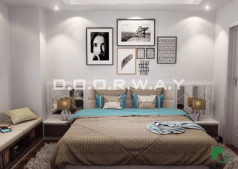 Thiết kế nội thất chung cư Tây Hà 119m2 nhà cô Thu chú Tường by kiến trúc Doorway phòng ngủ 02 góc 03