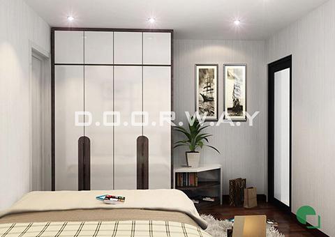 Thiết kế nội thất chung cư Tây Hà 119m2 nhà cô Thu chú Tường by kiến trúc Doorway phòng ngủ 03 góc 01