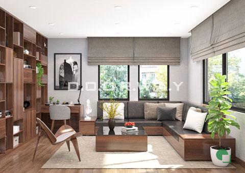Thiết kế nội thất phòng khách 30m2 nhà anh Tuấn ở KĐT Việt Hưng by doorway thiết kế góc 01