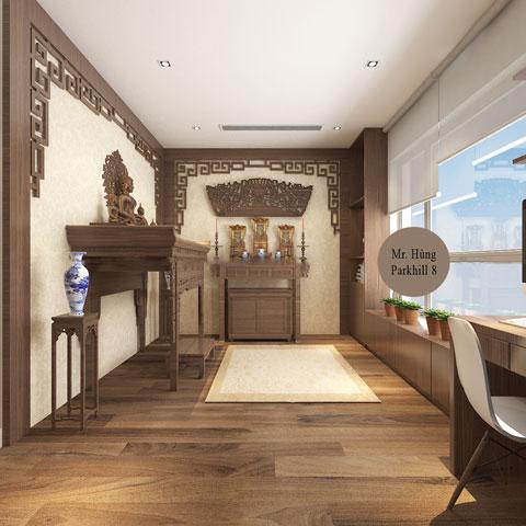 Thiết kế nội thất phòng thờ 45m2 nhà anh Hùng Park Hill by kiến trúc Doorway góc 01