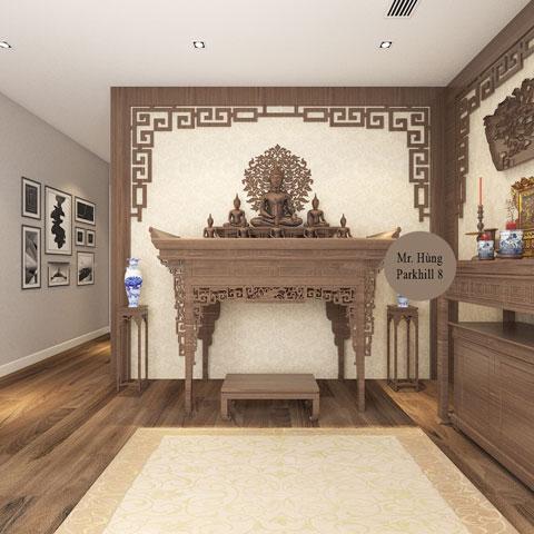Thiết kế nội thất phòng thờ 45m2 nhà anh Hùng Park Hill by kiến trúc Doorway góc 02