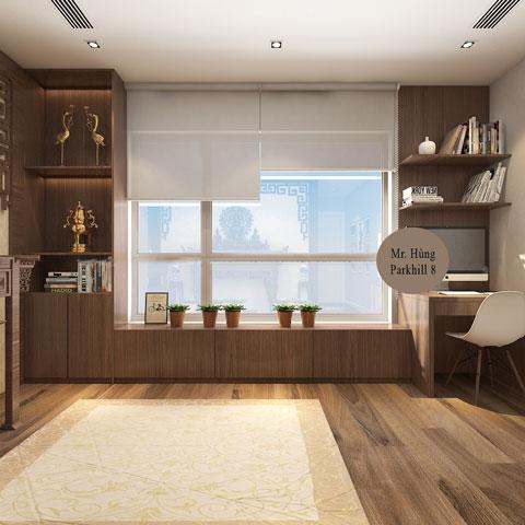 Thiết kế nội thất phòng thờ 45m2 nhà anh Hùng Park Hill by kiến trúc Doorway góc 03
