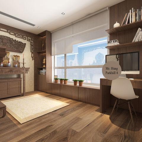 Thiết kế nội thất phòng thờ 45m2 nhà anh Hùng Park Hill by kiến trúc Doorway góc 04
