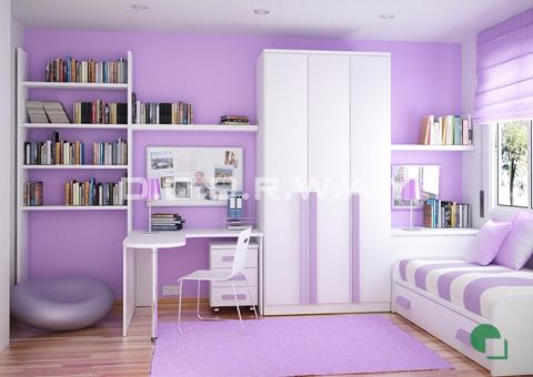 Thiết kế nội thất phòng ngủ cho bé yêu màu tím nhạt siêu xinh (st)
