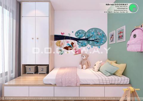 Thi công nội thất chung cư 2 phòng ngủ nhà chị Thanh Sunsquare by kiến trúc Doorway phòng ngủ 2 góc 01